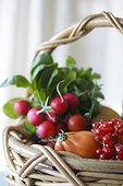 Fresh fruit and vegetables in a basket.