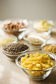 Selection of dried pasta and other ingredients.