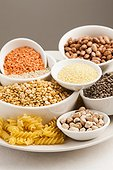Selection of dried foods, grains and pulses.
