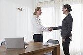 Businesswomen shaking hands at office