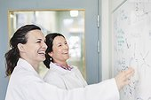Happy female scientists discussing plan on whiteboard in laboratory