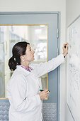 Female scientist analyzing plan on whiteboard at laboratory