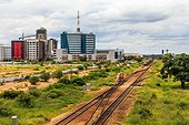 Railroad and rapidly developing central business district, Gaborone, Botswana, Africa, 2017