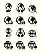 Globe earth with hands vector icons