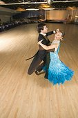Professional dancers practicing ballroom