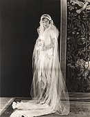 Bride wearing long sleeved wedding gown covered by long veil