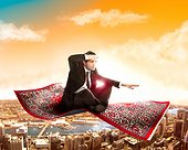 Businessman fly on magic carpet in the sky over city