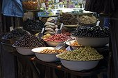 Stand with olives in the Medina or historic town centre of Fes or Fez in Morocco, Africa