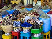 Spices are on sale in baskets, Souk, Rue Souk Soufiane, historic Medina, Marrakech, Marrakech-Tensift-El Haouz, Morocco, Africa