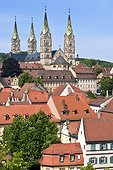 panoramic view over the town and Bamberg Cathedral (Bamberg, Upper Franconia, Oberfranken, Upper Franconia, Oberfranken, Germany, Deutschland)