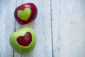 Apples with heart shapes