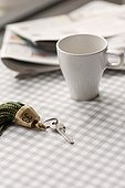 Hotel key and coffee cup, Sweden