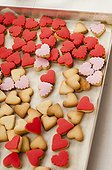 Assortment of Heart-Shaped Cookies on Baking Sheet, High Angle View